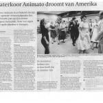 Theaterkoor Animato in de pers met America